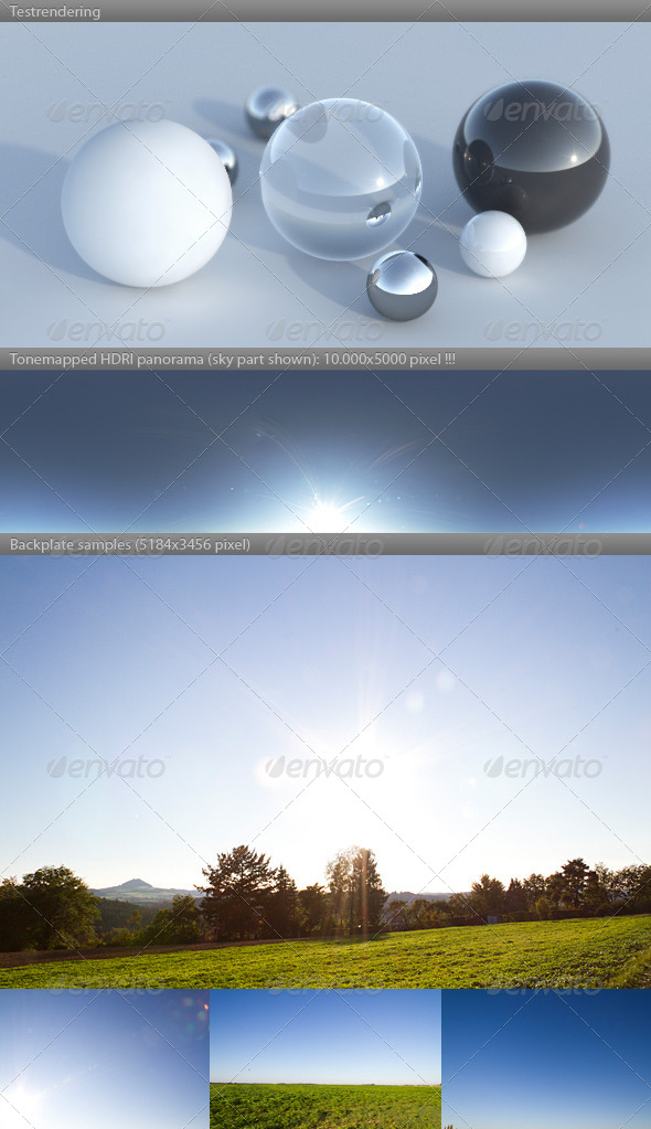 HDRI spherical sky panorama 1720- clear sunny