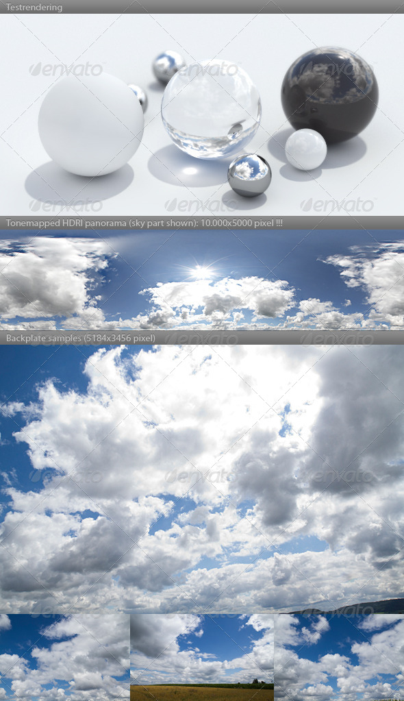 HDRI spherical sky panorama - 1158 - sunny clouds - 3DOcean Item for Sale