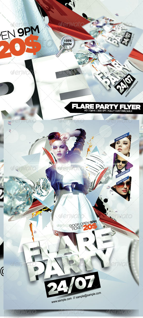 Flare Party Flyer - Flyers Print Templates