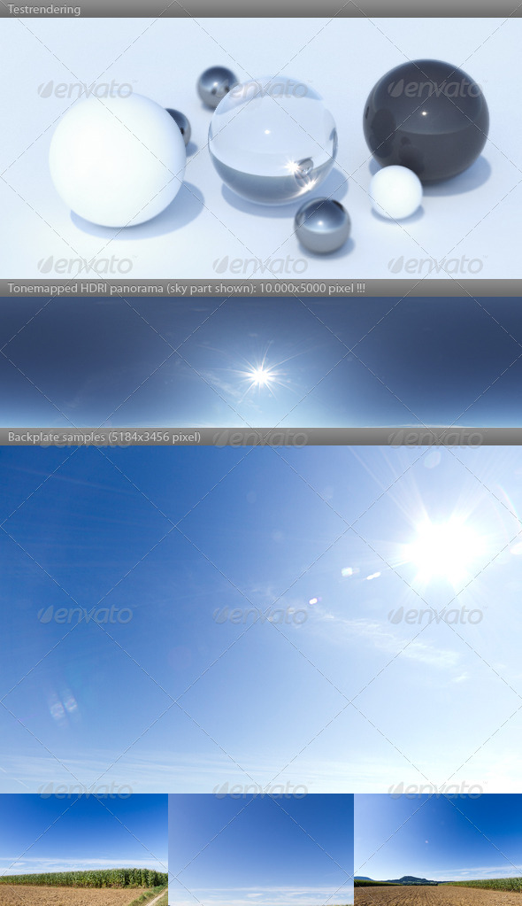 HDRI spherical sky panorama -1028 - sunny blue sky - 3DOcean Item for Sale