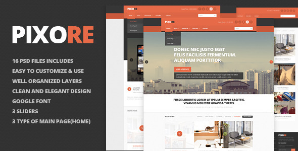 Pixore – clean and modern PSD Template good for your business and creative portfolio sites. 16 PSD files included, 16 screenshots. Features: 16 PSD files
