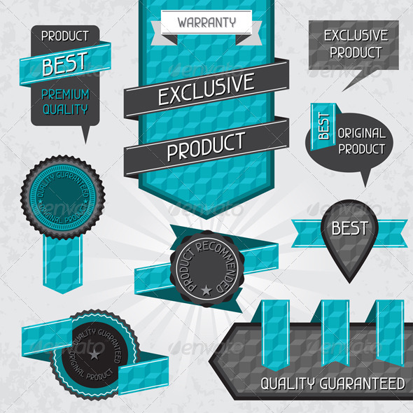 GraphicRiver Set of Premium Quality Labels and Stickers 4824315