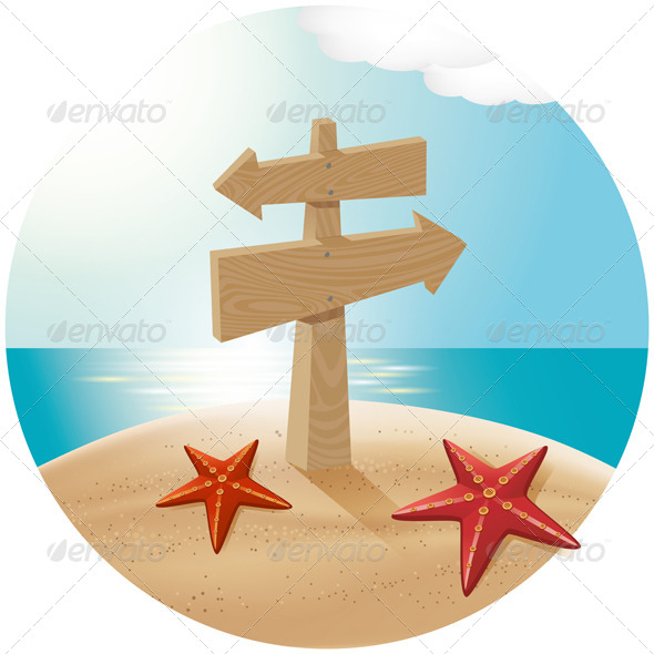 GraphicRiver Guidepost At The Sea Beach 4990727