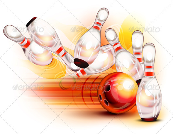 Bowling Ball Crashing into Pins - Sports/Activity Conceptual