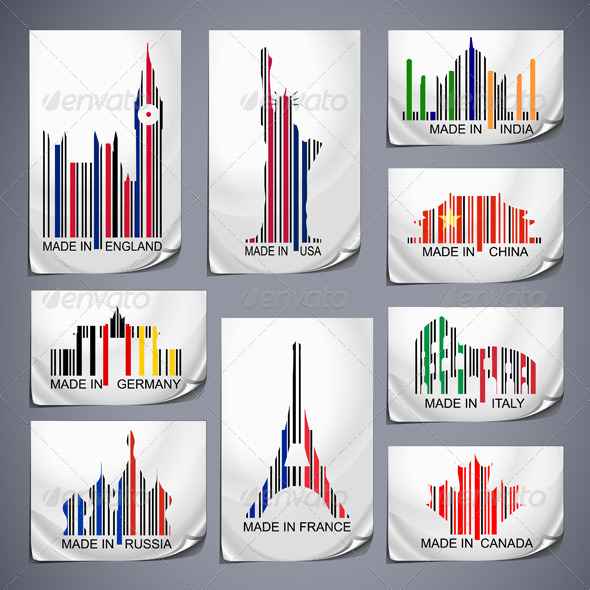 Set of Colored Barcode Stickers - Travel Conceptual