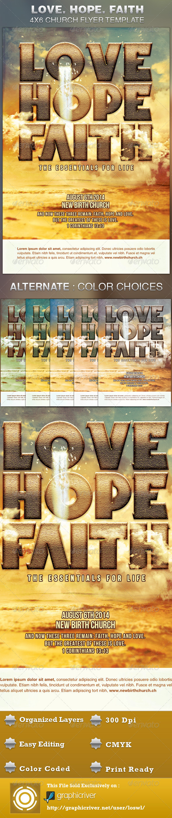 Love Hope Faith Church Flyer Template - Church Flyers