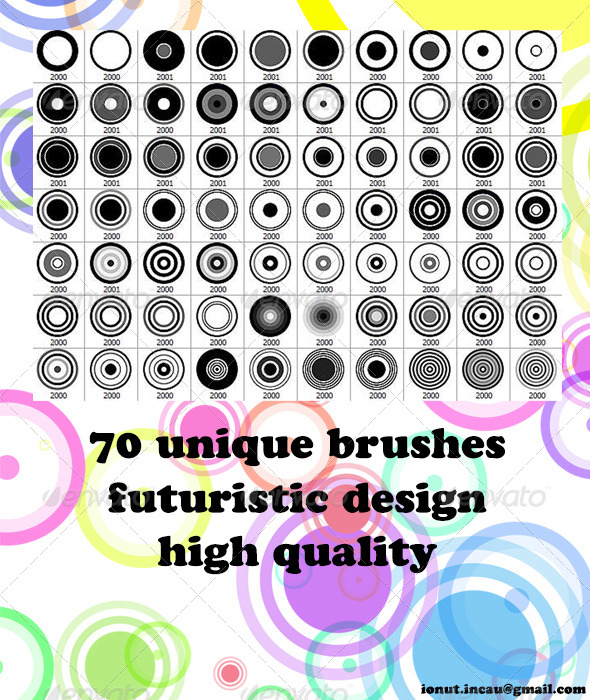 GraphicRiver 70 Circle Brushes Photoshop Brushes 4991089