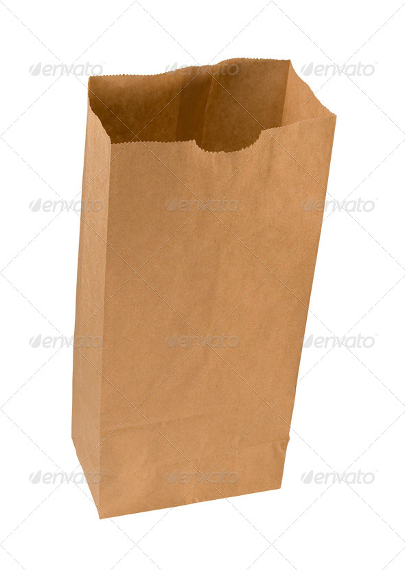 Paper Sack isolated on white - Stock Photo - Images