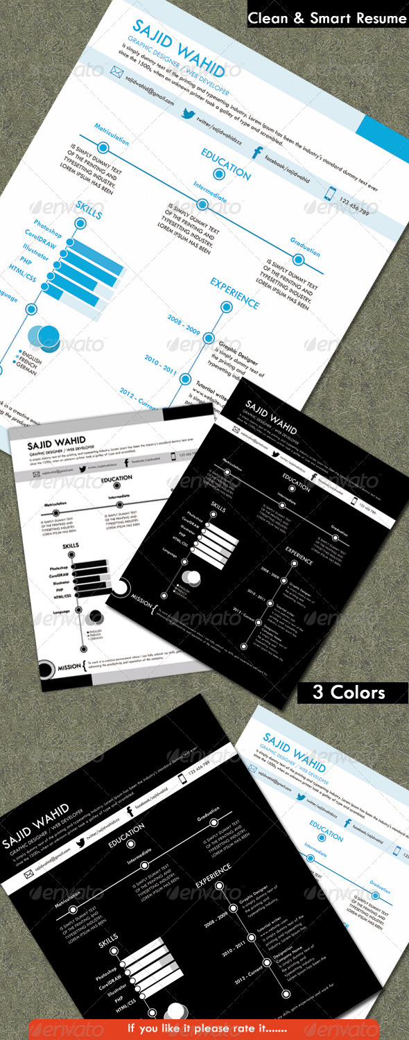 Resume (clean & smart) - Resumes Stationery