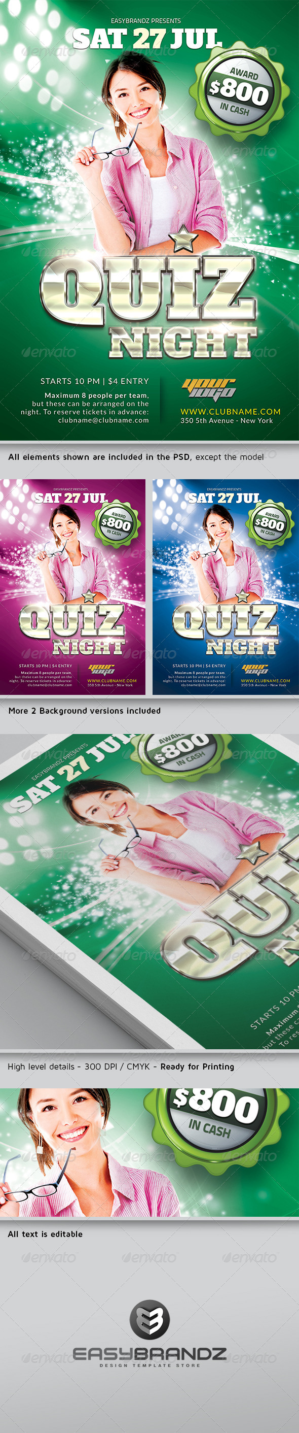 GraphicRiver Quiz Night Flyer Template 4936936