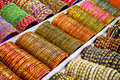 Colorful bangles - jewelery bracelets at the market in India