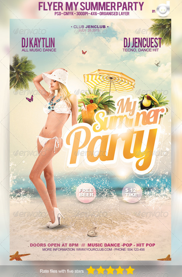 GraphicRiver Flyer My Summer Party Template 4937723