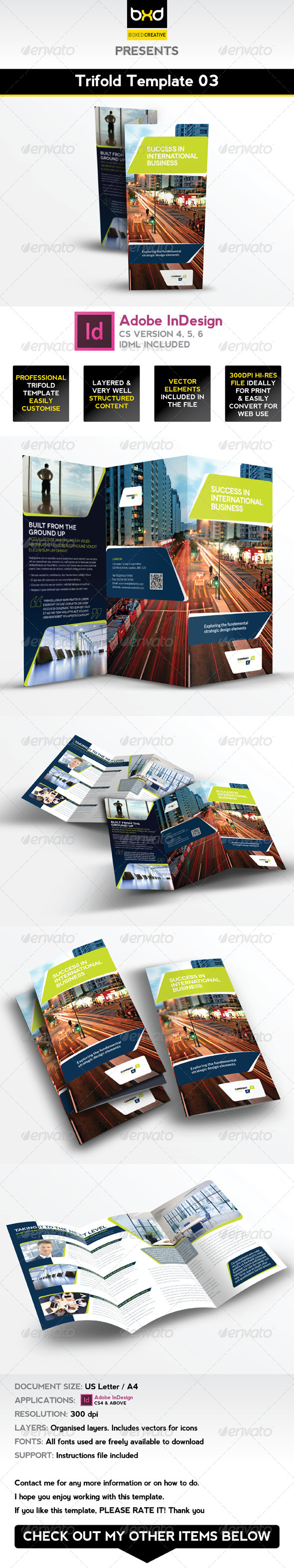 Trifold Brochure Template 03 - InDesign Layout - Corporate Brochures