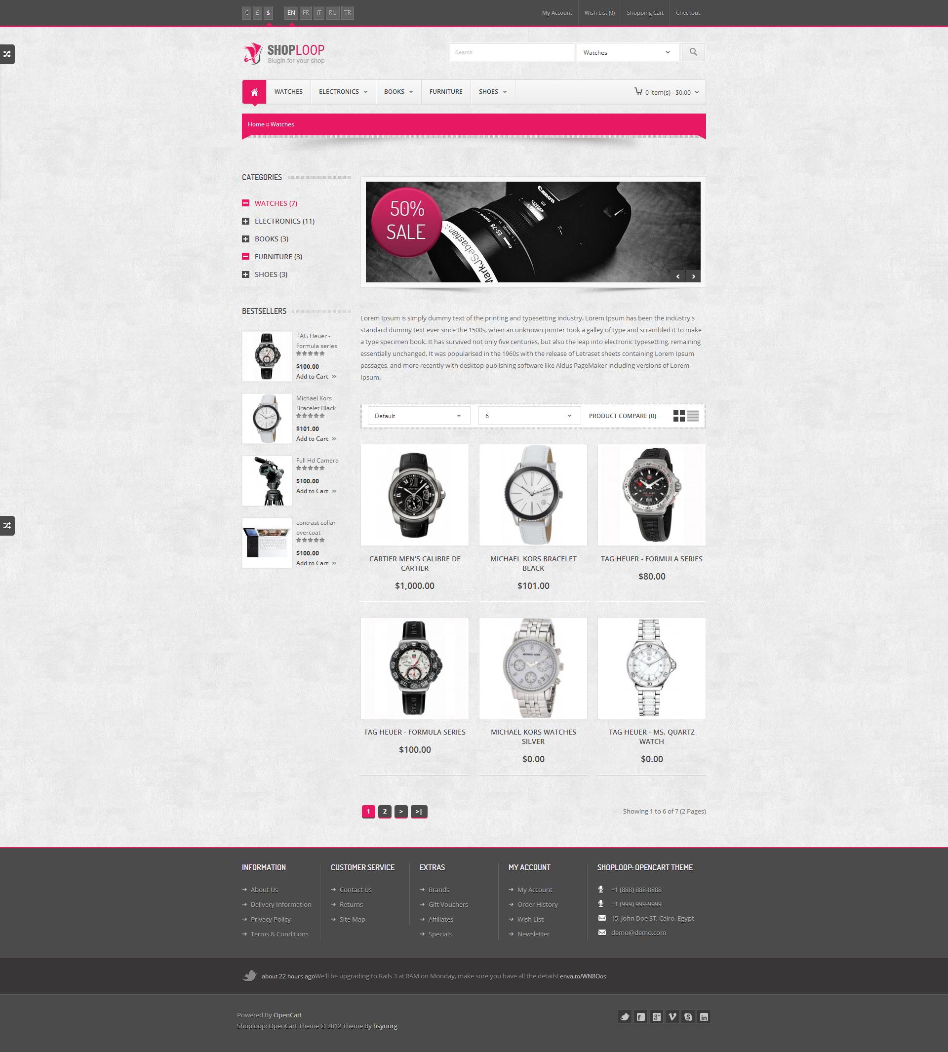 Shoploop: Responsive HTML5 OpenCart Theme