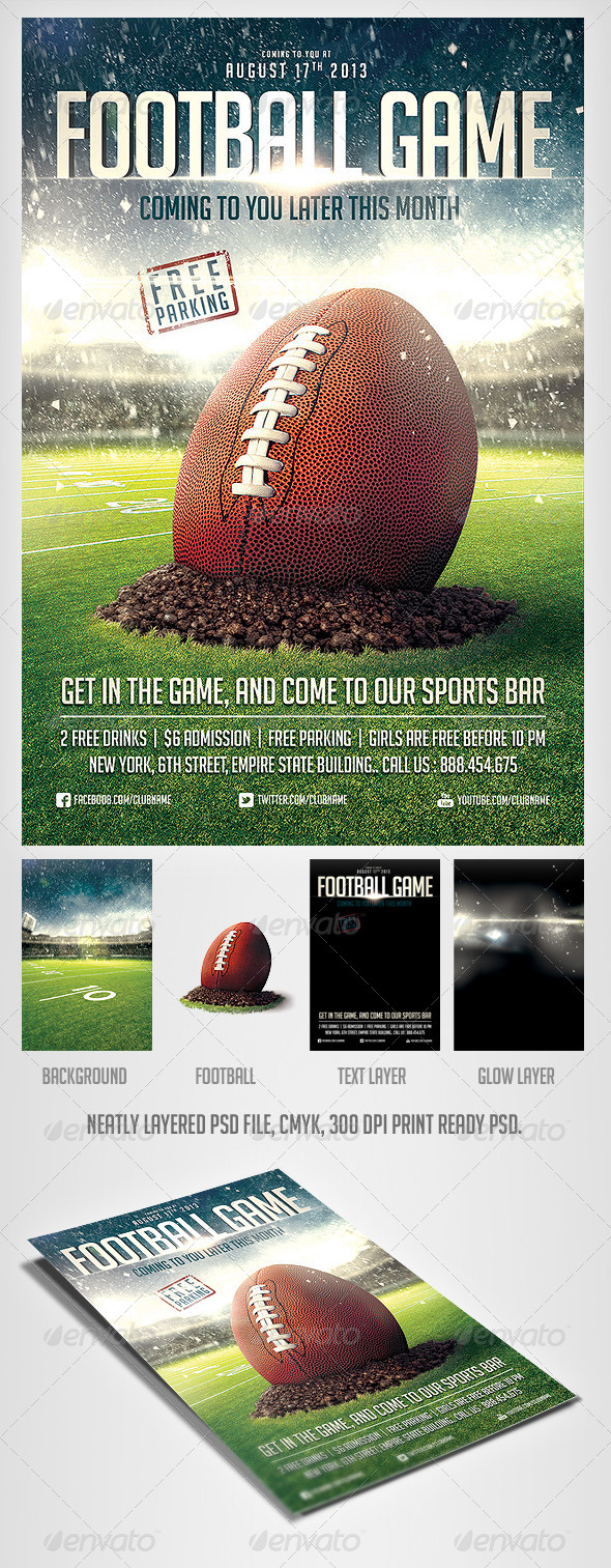 GraphicRiver FootBall Game Flyer Template 4995319