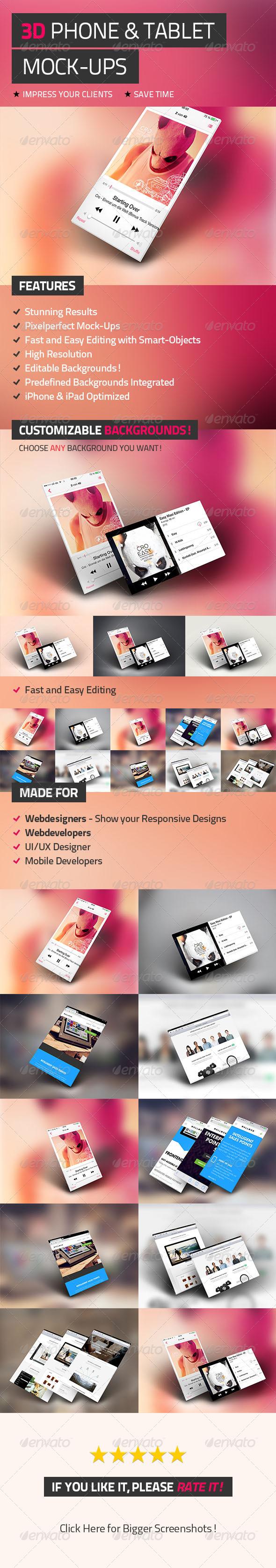 GraphicRiver 3D Phone & Tablet Mock-Ups 4995673