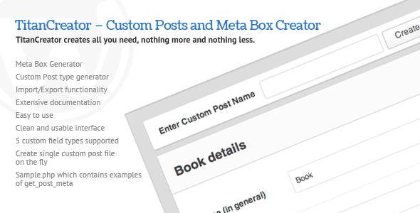 CodeCanyon TitanCreator Custom Posts and Meta Box Creator 511090