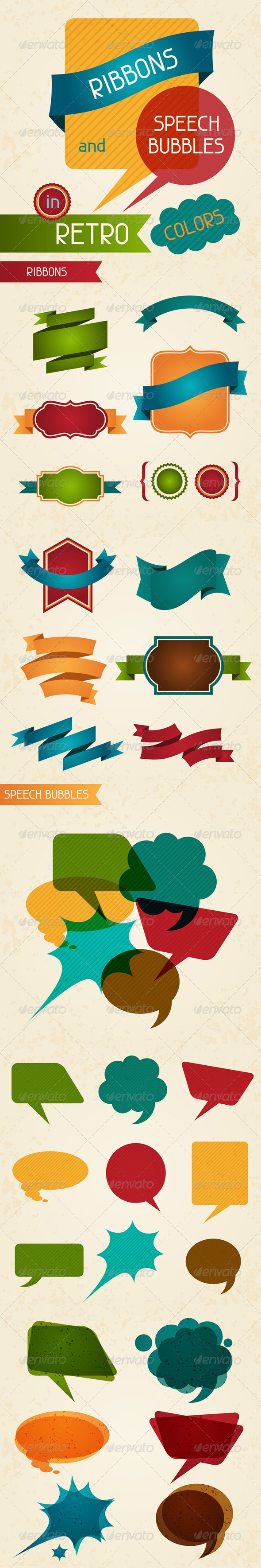 GraphicRiver Ribbons and speech bubbles in retro colors 4995916