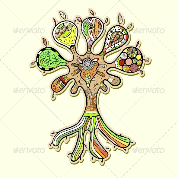 Abstract Tree Illustration with Ornaments