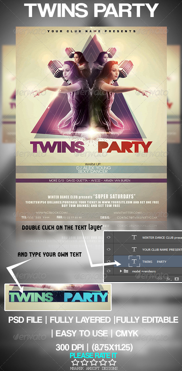 GraphicRiver Twins Party Flyer 4928425