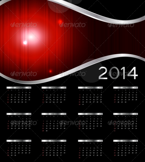 GraphicRiver 2014 New Year Calendar Vector Illustration 4996690