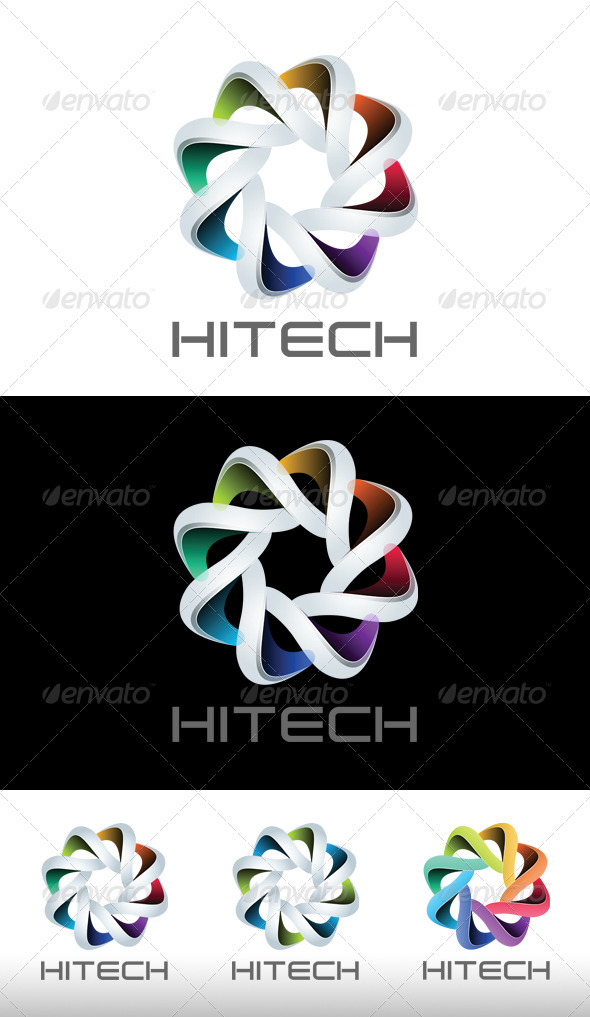Modern logo template with 4 variation colors