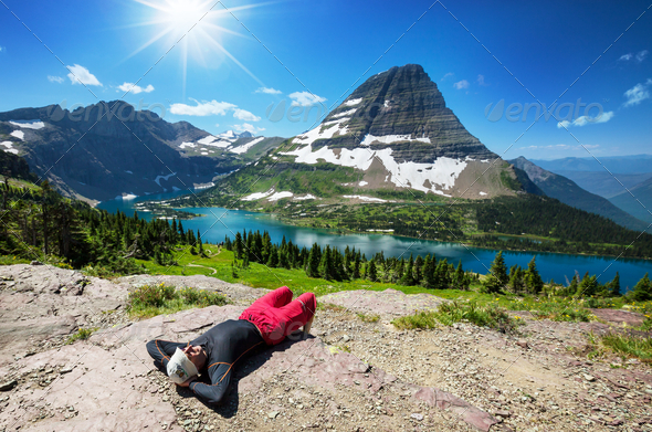 Hike in Glacier Park - Stock Photo - Images