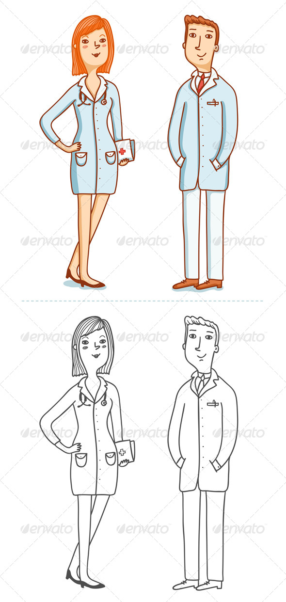 GraphicRiver Two Doctors Characters 4997349