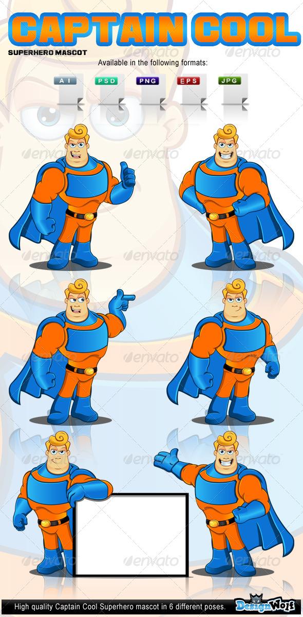 GraphicRiver Captain Cool Superhero Mascot 4998461