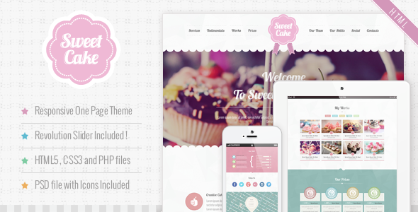 ThemeForest Sweet Cake Responsive HTML5 One Page Theme 4987389
