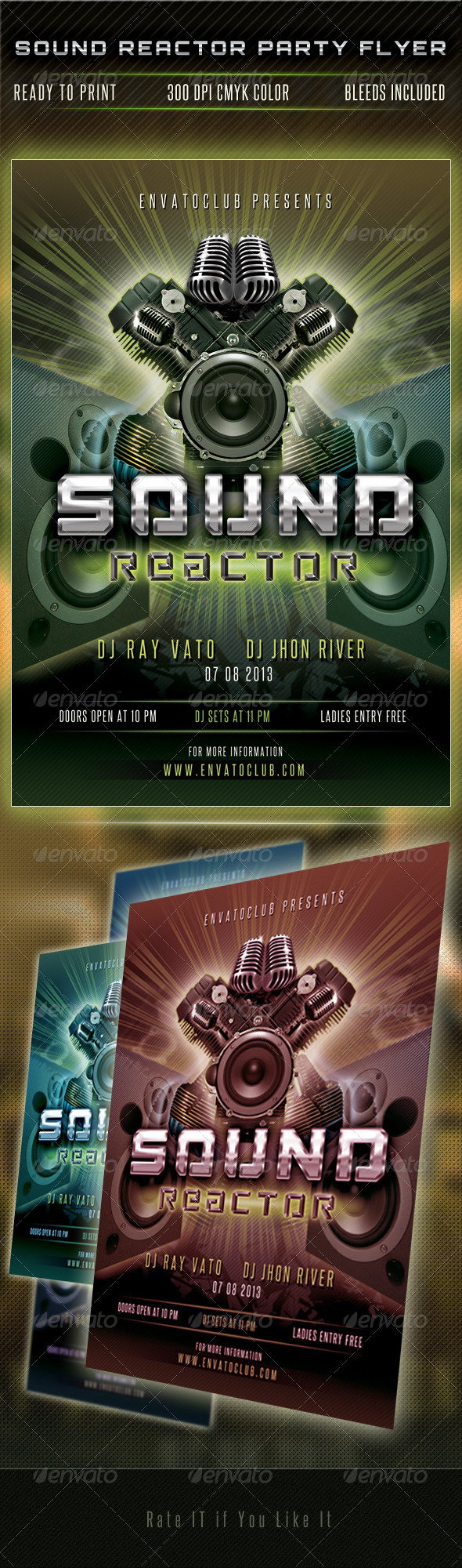 GraphicRiver Sound Reactor Party Flyer 4998730