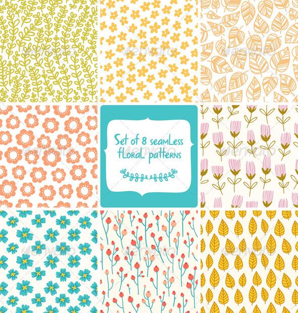 GraphicRiver Floral Patterns Set 4998825
