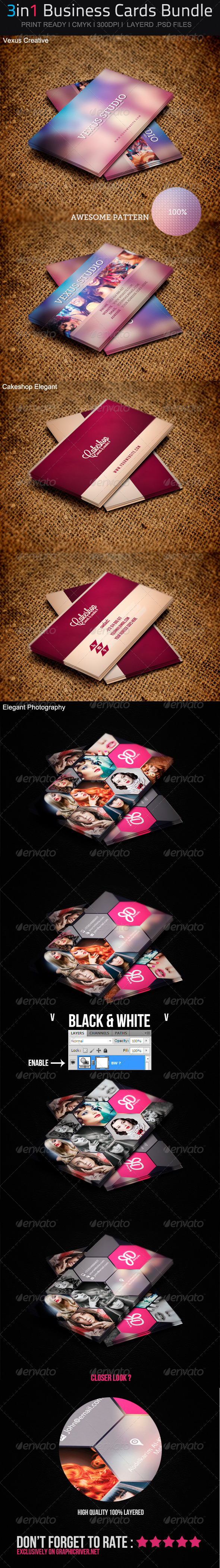 GraphicRiver 3in1 Business Cards Bundle 02 4998834