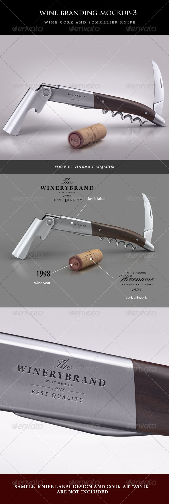 GraphicRiver sommelier knife and wine cork mock-up 4998901