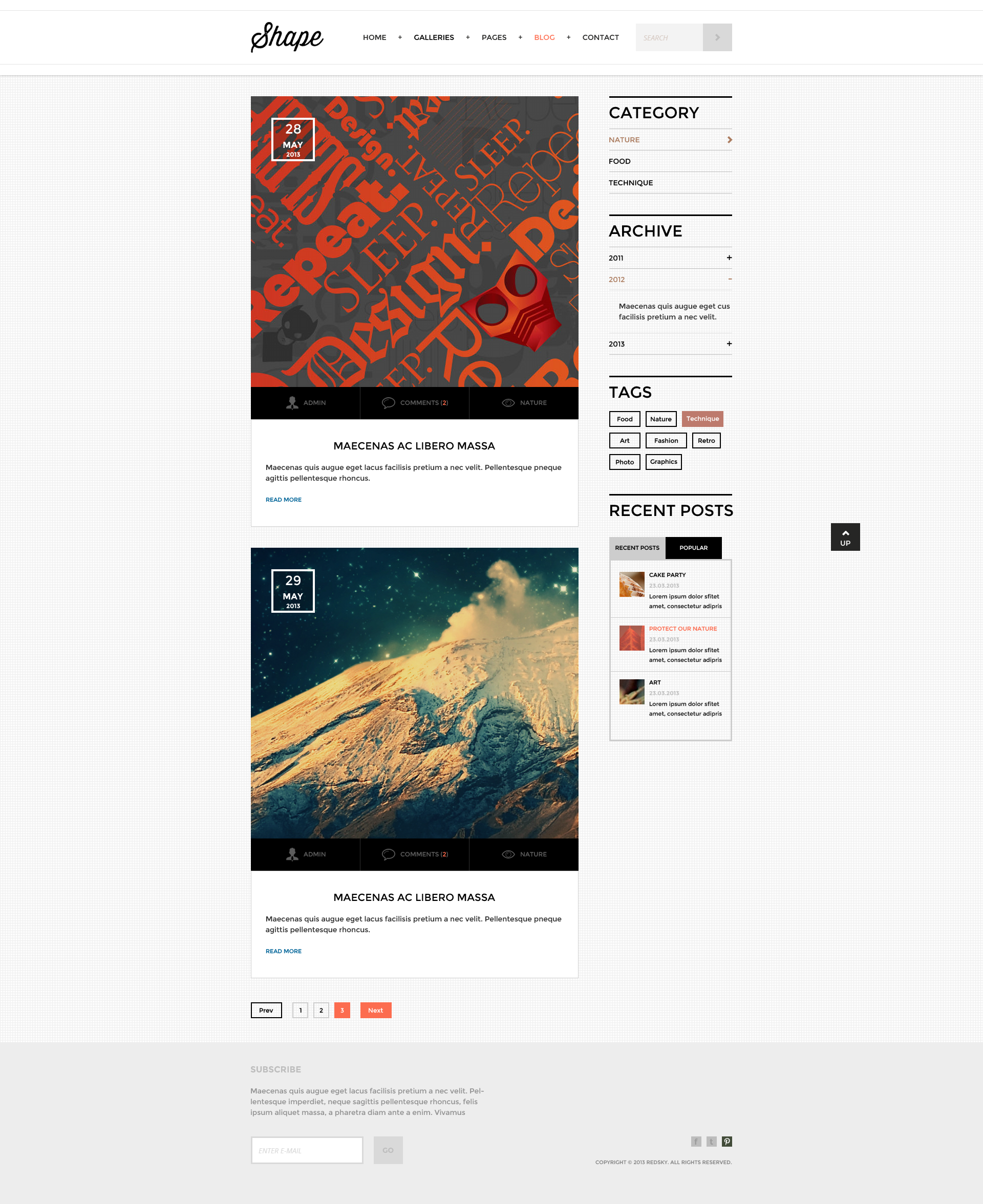 Shape - Professional HTML Photography Theme