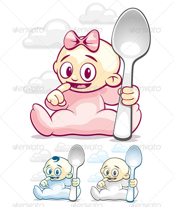 GraphicRiver Cartoon Kids with Spoons 4999536