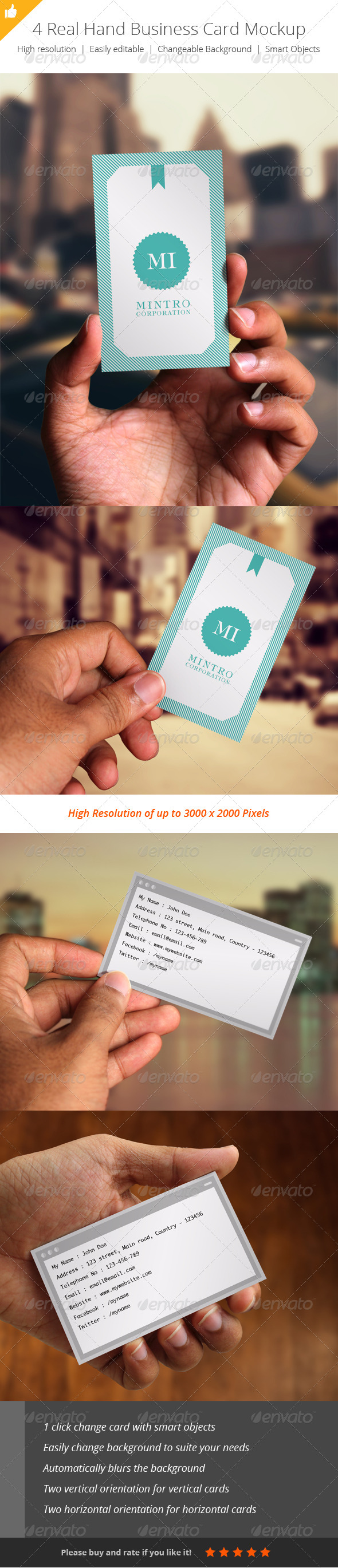 GraphicRiver 4 Real Hand Business Card Mockup 4999770