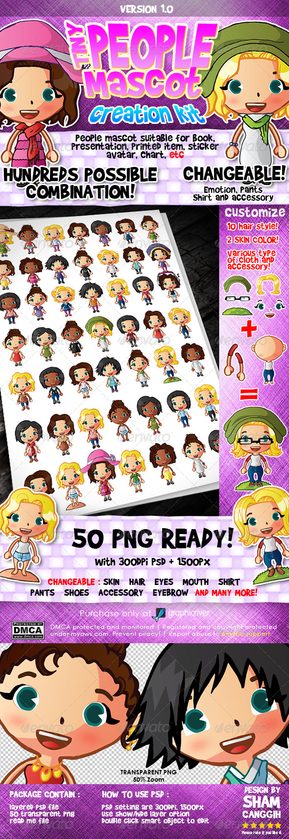 GraphicRiver Tiny People Mascot Creation Kit Female 5001853