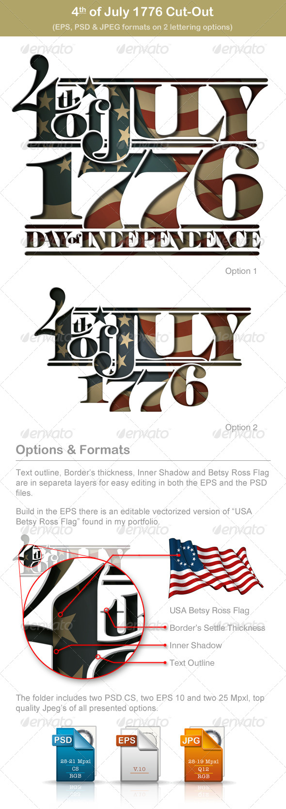 GraphicRiver 4th of July 1776 Cut-Out 5001858