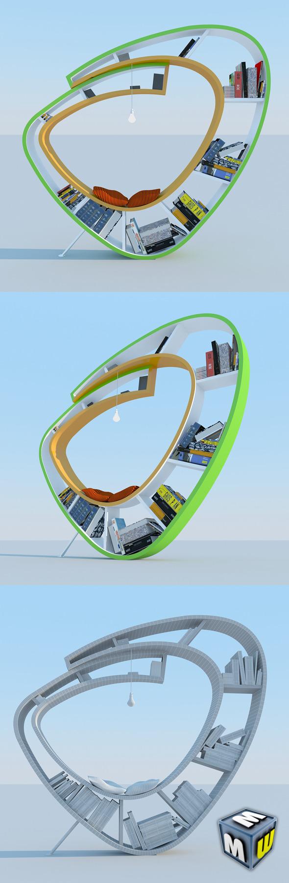 Bookshelf Modern MAX 2011 - 3DOcean Item for Sale