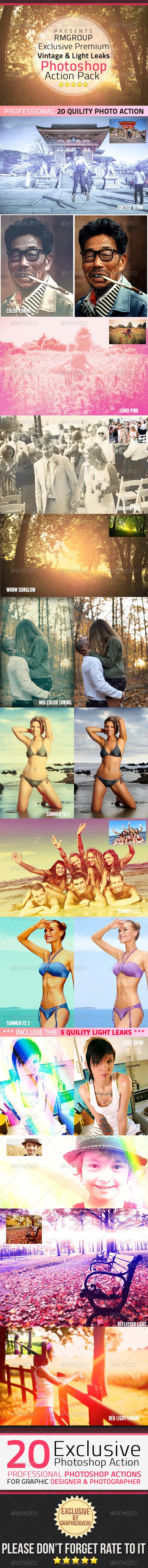 GraphicRiver 20Exclusive Vintage & Light Leaks Photoshop Action 5002244