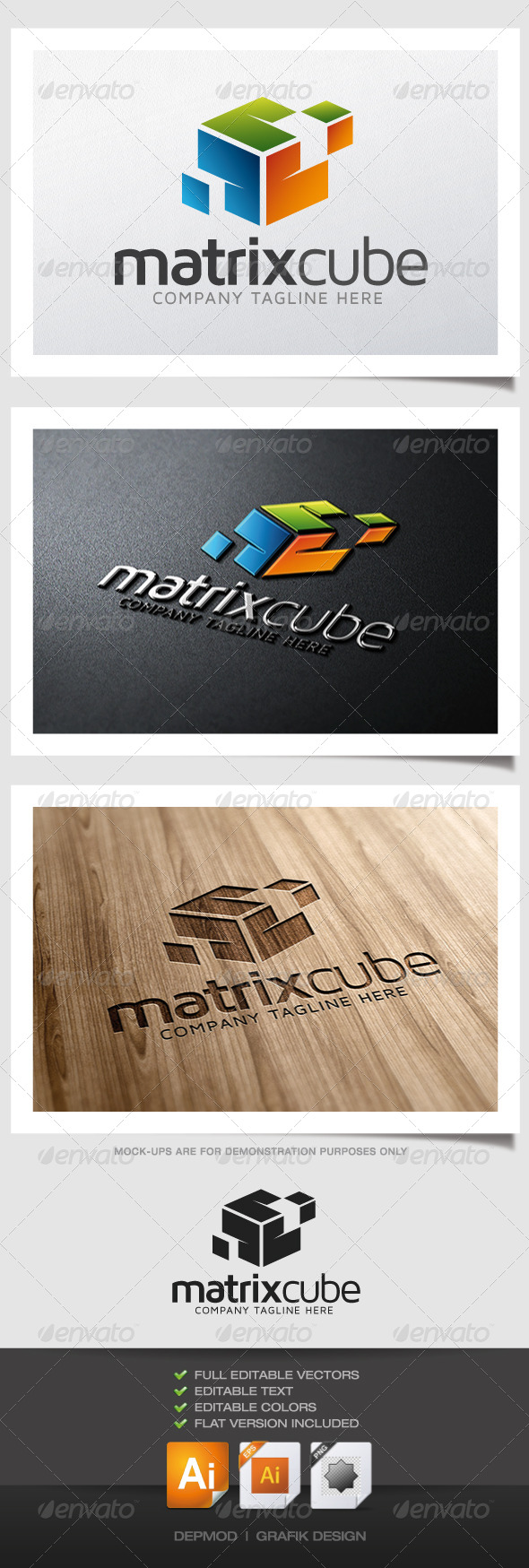 Matrix Cube Logo - Abstract Logo Templates