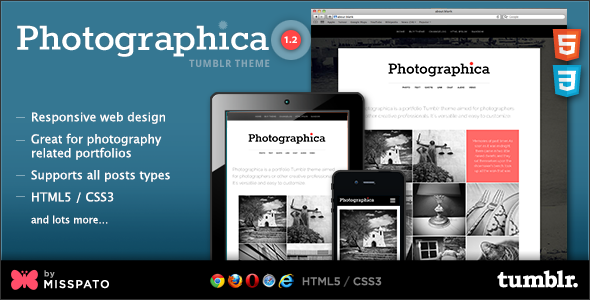 View live Demo for Photographica - Tumblt Portfolio Theme based on Responsive Design