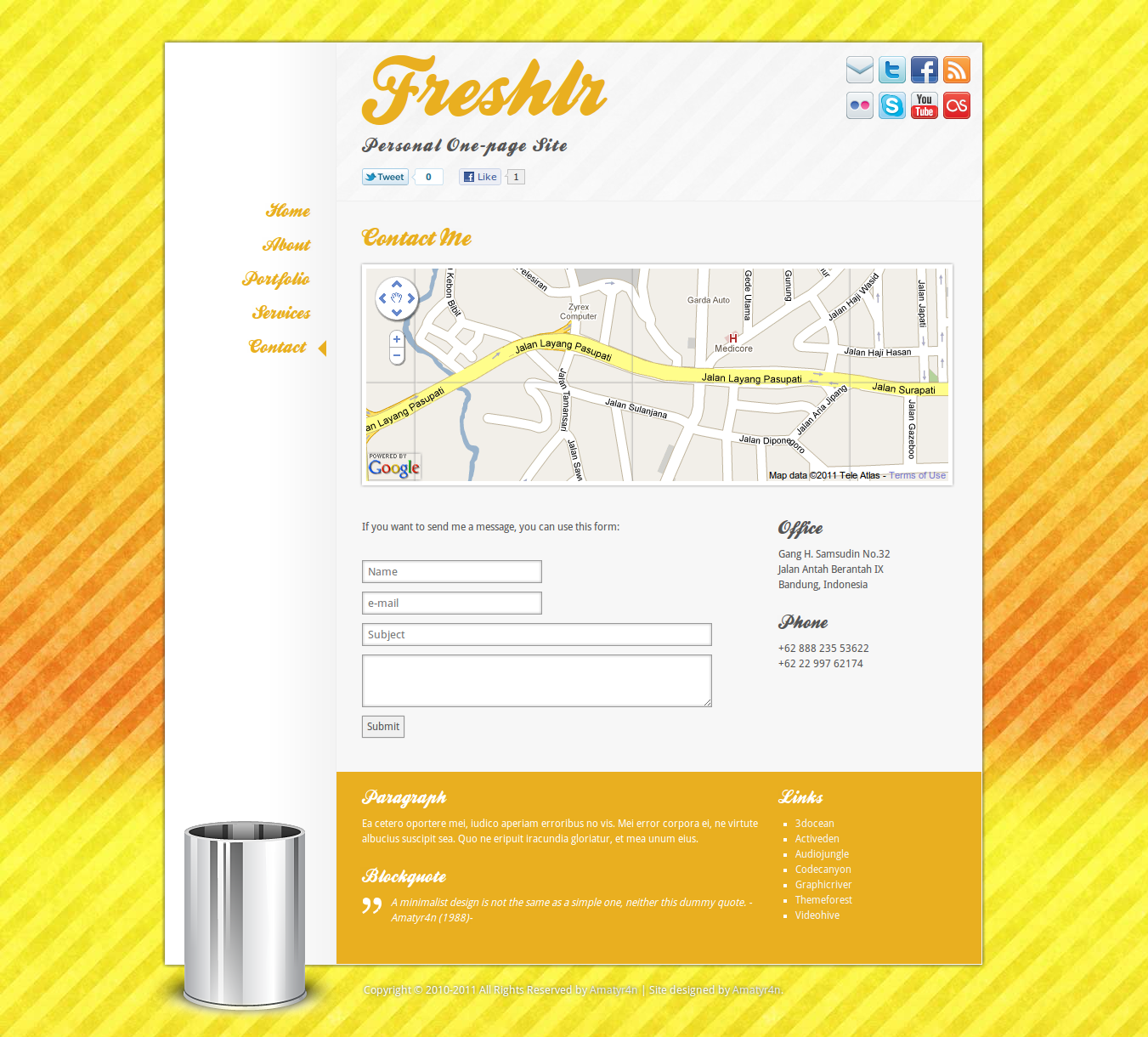 Freshlr Personal One-Page Site Template
