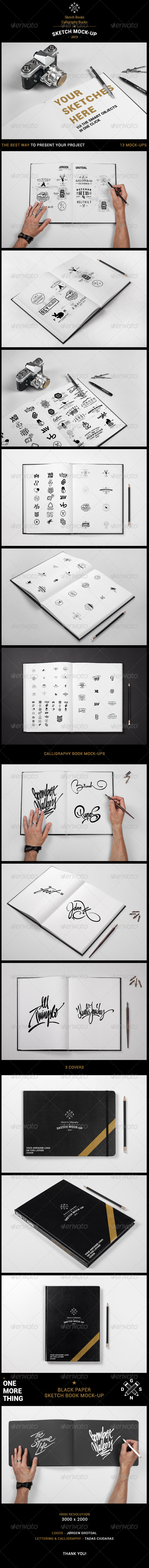 GraphicRiver Sketch Book Calligraphy Book Mock-up 5002810