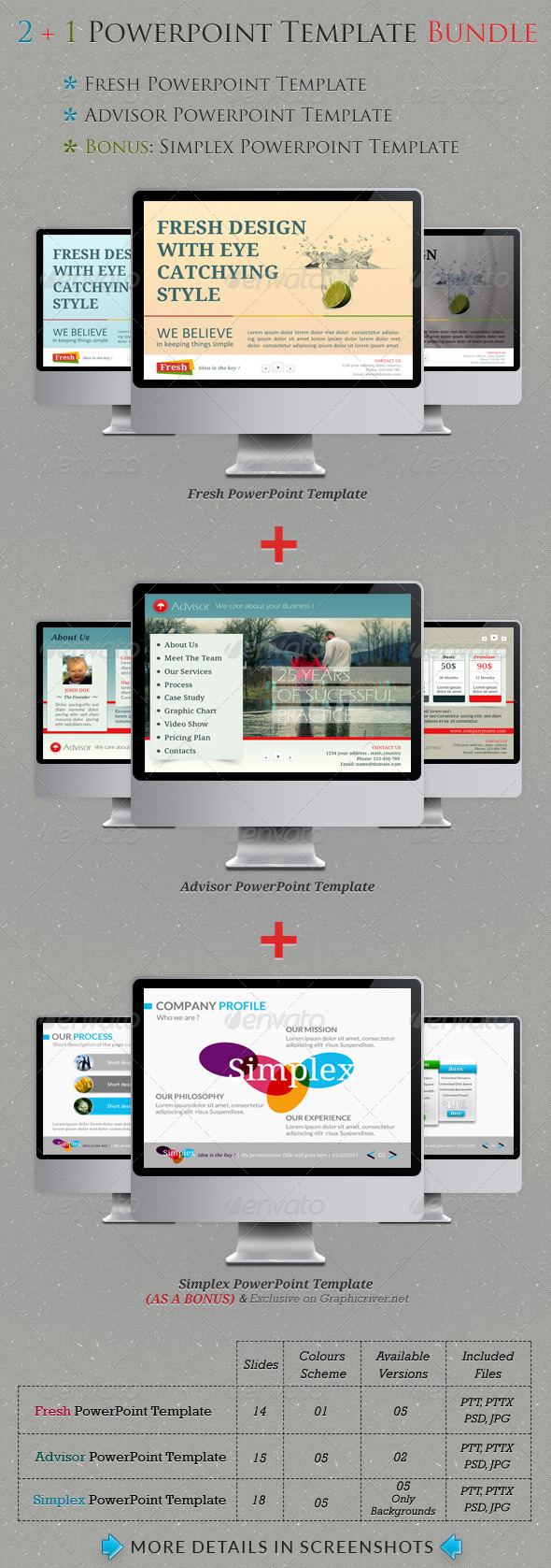 2+1 Powerpoint Templates Bundle - Creative Powerpoint Templates