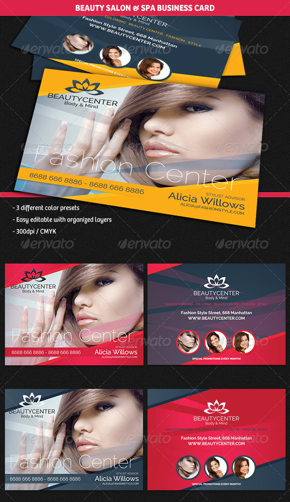 GraphicRiver Beauty Center & Spa Business Cards 5004403
