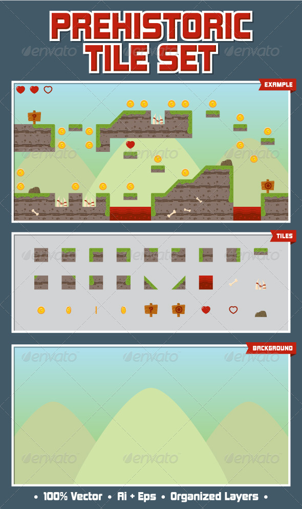 GraphicRiver Prehistoric Game Tile Set 4991011
