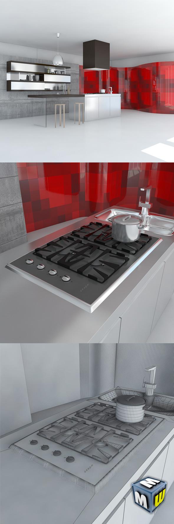3DOcean Kitchen Minimal Scene 5004445