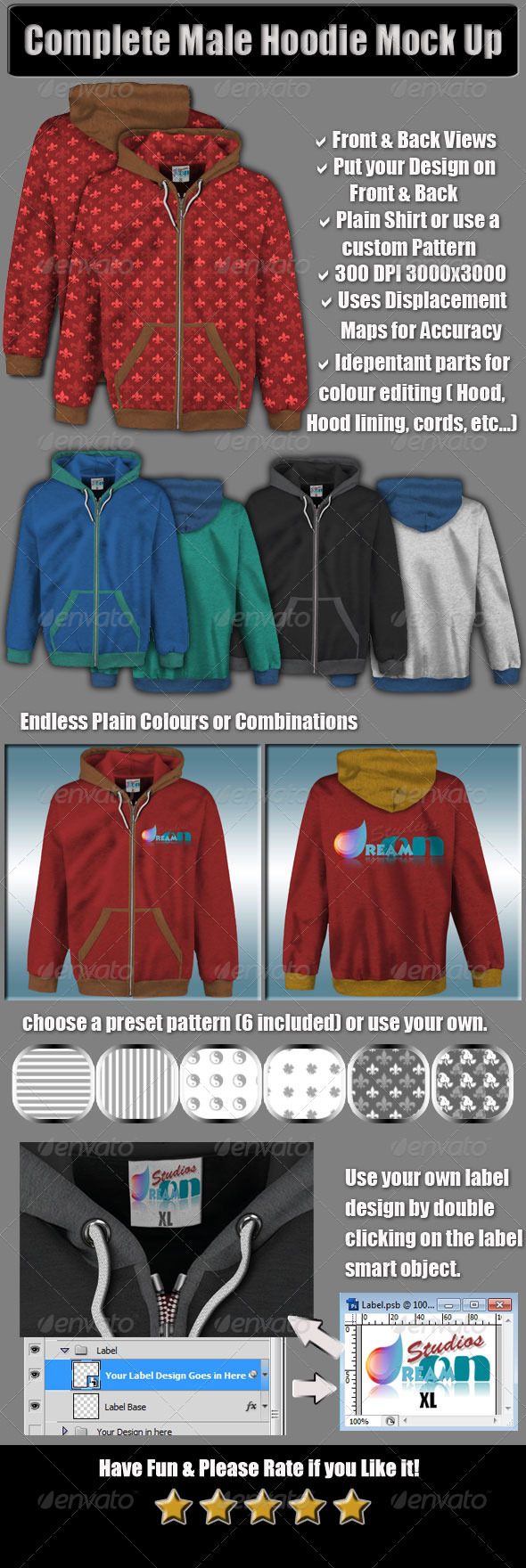 GraphicRiver Complete Male Hoodie Mock Up 5004539